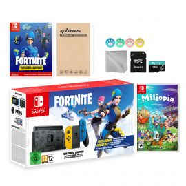 Nintendo Switch Fortnite Wildcat Limited Console Set, Epic Wildcat Outfits, 2000 V-Bucks, Bundle With Miitopia And Mytrix Accessories