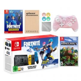 Nintendo Switch Fortnite Wildcat Limited Console Set, Epic Wildcat Outfits, 2000 V-Bucks, Bundle With Minecraft And Mytrix Wireless Switch Pro Controller and Accessories
