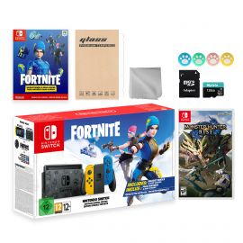 Nintendo Switch Fortnite Wildcat Limited Console Set, Epic Wildcat Outfits, 2000 V-Bucks, Bundle With Monster Hunter: Rise And Mytrix Accessories