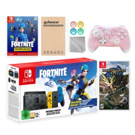 Nintendo Switch Fortnite Wildcat Limited Console Set, Epic Wildcat Outfits, 2000 V-Bucks, Bundle With Monster Hunter: Rise And Mytrix Wireless Switch Pro Controller and Accessories