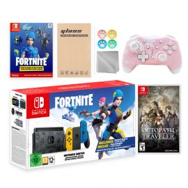 Nintendo Switch Fortnite Wildcat Limited Console Set, Epic Wildcat Outfits, 2000 V-Bucks, Bundle With Octopath Traveler And Mytrix Wireless Switch Pro Controller and Accessories