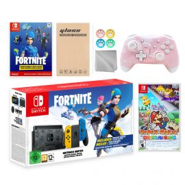Nintendo Switch Fortnite Wildcat Limited Console Set, Epic Wildcat Outfits, 2000 V-Bucks, Bundle With Paper Mario: The Origami King And Mytrix Wireless Switch Pro Controller and Accessories