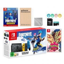 Nintendo Switch Fortnite Wildcat Limited Console Set, Epic Wildcat Outfits, 2000 V-Bucks, Bundle With Pokemon Shield And Mytrix Accessories