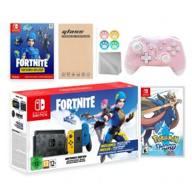 Nintendo Switch Fortnite Wildcat Limited Console Set, Epic Wildcat Outfits, 2000 V-Bucks, Bundle With Pokemon Sword And Mytrix Wireless Switch Pro Controller and Accessories