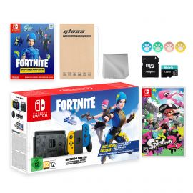 Nintendo Switch Fortnite Wildcat Limited Console Set, Epic Wildcat Outfits, 2000 V-Bucks, Bundle With Splatoon 2 And Mytrix Accessories