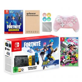 Nintendo Switch Fortnite Wildcat Limited Console Set, Epic Wildcat Outfits, 2000 V-Bucks, Bundle With Splatoon 2 And Mytrix Wireless Switch Pro Controller and Accessories