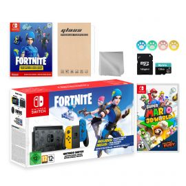 Nintendo Switch Fortnite Wildcat Limited Console Set, Epic Wildcat Outfits, 2000 V-Bucks, Bundle With Super Mario 3D World + Bowser's Fury And Mytrix Accessories