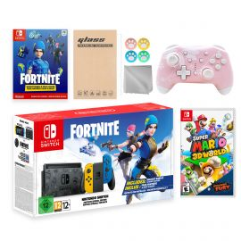 Nintendo Switch Fortnite Wildcat Limited Console Set, Epic Wildcat Outfits, 2000 V-Bucks, Bundle With Super Mario 3D World + Bowser's Fury And Mytrix Wireless Pro Controller and Accessories