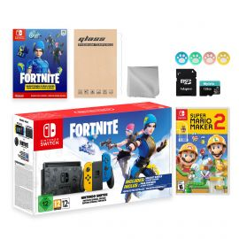 Nintendo Switch Fortnite Wildcat Limited Console Set, Epic Wildcat Outfits, 2000 V-Bucks, Bundle With Super Mario Maker 2 And Mytrix Accessories