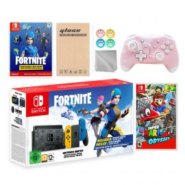 Nintendo Switch Fortnite Wildcat Limited Console Set, Epic Wildcat Outfits, 2000 V-Bucks, Bundle With Super Mario Odyssey And Mytrix Wireless Switch Pro Controller and Accessories
