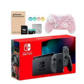 Nintendo Switch Gray 32GB Console with Mytrix Sakura Wireless Pro Controller and Mytrix Switch Accessories Kit