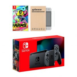 Nintendo Switch Gray Joy-Con Console Arms Bundle, with Mytrix Tempered Glass Screen Protector - Improved Battery Life Console with the Best Party Game