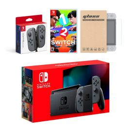 Nintendo Switch Gray Joy-Con Console Bundle with an Extra Pair of Gray Joy-Con, 1-2 Switch, and Tempered Glass Screen Protector