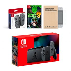 Nintendo Switch Gray Joy-Con Console Bundle with an Extra Pair of Gray Joy-Con, Luigi's Mansion 3, and Mytrix Tempered Glass Screen Protector