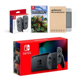 Nintendo Switch Gray Joy-Con Console Bundle with an Extra Pair of Gray Joy-Con, Minecraft, and Mytrix Tempered Glass Screen Protector