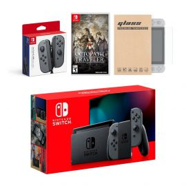 Nintendo Switch Gray Joy-Con Console Bundle with an Extra Pair of Gray Joy-Con, Octopath Traveler, and Mytrix Tempered Glass Screen Protector