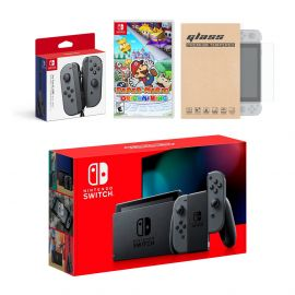 Nintendo Switch Gray Joy-Con Console Bundle with an Extra Pair of Gray Joy-Con, Paper Mario: The Origami King, and Mytrix Tempered Glass Screen Protector