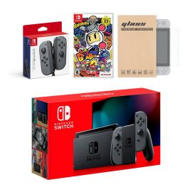 Nintendo Switch Gray Joy-Con Console Bundle with an Extra Pair of Gray Joy-Con, Super Bomberman R, and Mytrix Tempered Glass Screen Protector