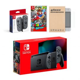 Nintendo Switch Gray Joy-Con Console Bundle with an Extra Pair of Gray Joy-Con, Super Mario Odyssey, and Mytrix Tempered Glass Screen Protector