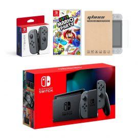 Nintendo Switch Gray Joy-Con Console Bundle with an Extra Pair of Gray Joy-Con, Super Mario Party, and Mytrix Tempered Glass Screen Protector