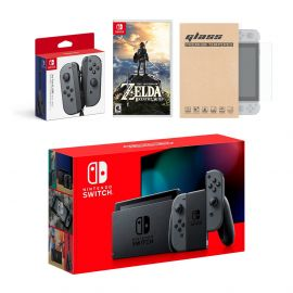 Nintendo Switch Gray Joy-Con Console Bundle with an Extra Pair of Gray Joy-Con, The Legend of Zelda: Breath of the Wild, and Mytrix Tempered Glass Screen Protector