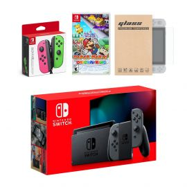 Nintendo Switch Gray Joy-Con Console Bundle with an Extra Pair of Neon Pink/Green Joy-Con, Paper Mario: The Origami King, and Mytrix Tempered Glass Screen Protector
