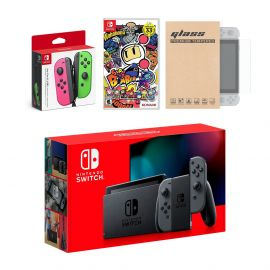 Nintendo Switch Gray Joy-Con Console Bundle with an Extra Pair of Neon Pink/Green Joy-Con, Super Bomberman R, and Mytrix Tempered Glass Screen Protector
