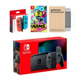 Nintendo Switch Gray Joy-Con Console Bundle with an Extra Pair of Neon Red/Blue Joy-Con, Arms, and Mytrix Tempered Glass Screen Protector