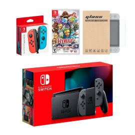 Nintendo Switch Gray Joy-Con Console Bundle with an Extra Pair of Neon Red/Blue Joy-Con, Hyrule Warriors: Definitive Edition, and Mytrix Tempered Glass Screen Protector