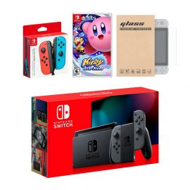 Nintendo Switch Gray Joy-Con Console Bundle with an Extra Pair of Neon Red/Blue Joy-Con, Kirby Star Allies, and Mytrix Tempered Glass Screen Protector
