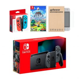 Nintendo Switch Gray Joy-Con Console Bundle with an Extra Pair of Neon Red/Blue Joy-Con, Legend of Zelda Link's Awakening, and Mytrix Tempered Glass Screen Protector