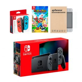 Nintendo Switch Gray Joy-Con Console Bundle with an Extra Pair of Neon Red/Blue Joy-Con, Mario Rabbids Kingdom Battle, and Mytrix Tempered Glass Screen Protector
