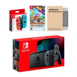 Nintendo Switch Gray Joy-Con Console Bundle with an Extra Pair of Neon Red/Blue Joy-Con, Paper Mario: The Origami King, and Mytrix Tempered Glass Screen Protector