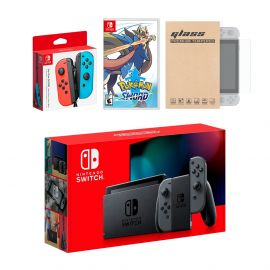 Nintendo Switch Gray Joy-Con Console Bundle with an Extra Pair of Neon Red/Blue Joy-Con, Pokemon Sword, and Mytrix Tempered Glass Screen Protector