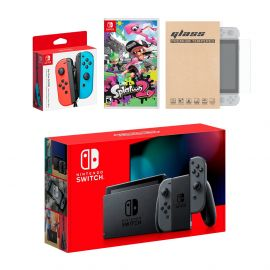 Nintendo Switch Gray Joy-Con Console Bundle with an Extra Pair of Neon Red/Blue Joy-Con, Splatoon 2, and Mytrix Tempered Glass Screen Protector