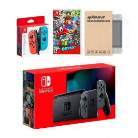 Nintendo Switch Gray Joy-Con Console Bundle with an Extra Pair of Neon Red/Blue Joy-Con, Super Mario Odyssey, and Mytrix Tempered Glass Screen Protector