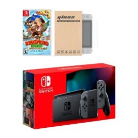 Nintendo Switch Gray Joy-Con Console Donkey Kong Country: Tropical Freeze Bundle, with Mytrix Tempered Glass Screen Protector - Improved Battery Life Console with NS Game Disc