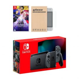 Nintendo Switch Gray Joy-Con Console Fire Emblem: Three Houses Bundle, with Mytrix Tempered Glass Screen Protector - Improved Battery Life Console with the Best Tactical Role-Playing Game
