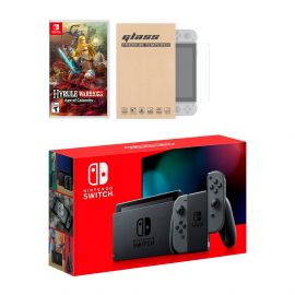Nintendo Switch Gray Joy-Con Console Hyrule Warriors: Age of Calamity Bundle, with Mytrix Tempered Glass Screen Protector - Improved Battery Life Console with 2020 New Game