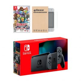 Nintendo Switch Gray Joy-Con Console Hyrule Warriors: Definitive Edition Bundle, with Mytrix Tempered Glass Screen Protector - Improved Battery Life Console with NS Game Disc