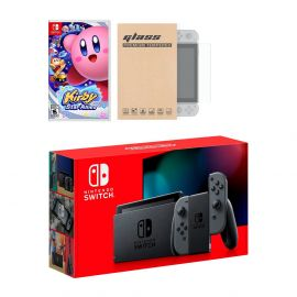 Nintendo Switch Gray Joy-Con Console Kirby Star Allies Bundle, with Mytrix Tempered Glass Screen Protector - Improved Battery Life Console with the Great Kirby Game