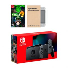 Nintendo Switch Gray Joy-Con Console Luigi's Mansion 3 Bundle, with Mytrix Tempered Glass Screen Protector - Improved Battery Life Console with the 2019 Best Multiplayer Action-Adventure Game
