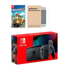 Nintendo Switch Gray Joy-Con Console Overcooked! 2 Bundle, with Mytrix Tempered Glass Screen Protector - Improved Battery Life Console with the Best Party Game