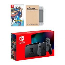 Nintendo Switch Gray Joy-Con Console Pokemon Sword Bundle, with Mytrix Tempered Glass Screen Protector - Improved Battery Life Console with the Best Pokemon Game