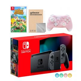 Nintendo Switch Gray Joy-Con Console Set, Bundle With Animal Crossing: New Horizons And Mytrix Wireless Switch Pro Controller and Accessories