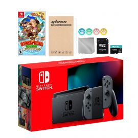 Nintendo Switch Gray Joy-Con Console Set, Bundle With Donkey Kong Country: Tropical Freeze And Mytrix Accessories