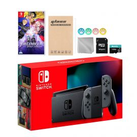Nintendo Switch Gray Joy-Con Console Set, Bundle With Fire Emblem: Three Houses And Mytrix Accessories