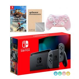 Nintendo Switch Gray Joy-Con Console Set, Bundle With Immortals Fenyx Rising And Mytrix Wireless Switch Pro Controller and Accessories