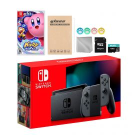 Nintendo Switch Gray Joy-Con Console Set, Bundle With Kirby Star Allies And Mytrix Accessories
