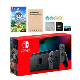 Nintendo Switch Gray Joy-Con Console Set, Bundle With Legend of Zelda Link's Awakening And Mytrix Accessories